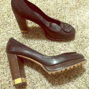 Tory Burch black heels with comfortable grip, sz 9